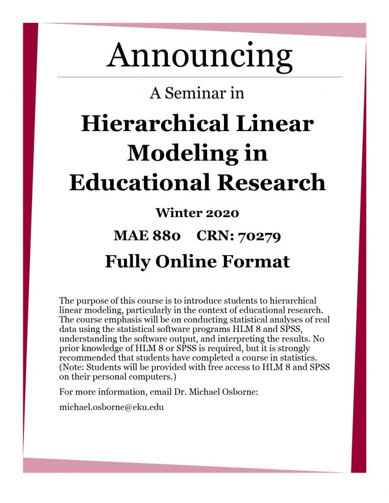 Announcing A Seminar in Hierarchical Linear Modeling in Educational Research